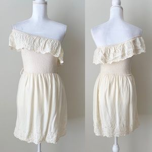 Boho Lace one shoulder dress.